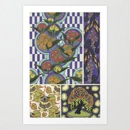 trendy vintage floral pattern Art Print