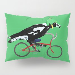 Magpie on Bike Swoop (in Green) Pillow Sham