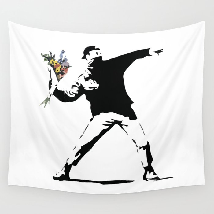 Banksy Flower Thrower Wall Tapestry