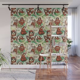 sloth in coffee pattern Wall Mural