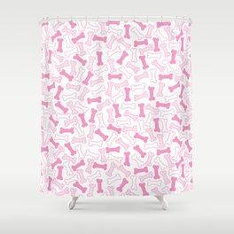 Kawaii Pink Bones Pattern Shower Curtain