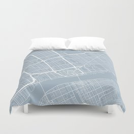 Detroit Map, USA - Slate Duvet Cover