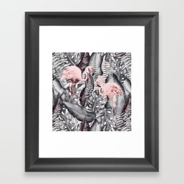 Flamingo Love - Watercolor Birds in Pink and Gray color Framed Art Print