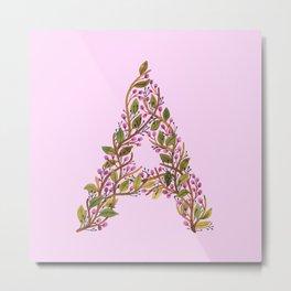 Leafy Letter A Metal Print