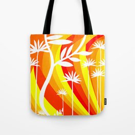 Orange and Yellow Ombre Gradient Background with White Botanical Plant Tote Bag