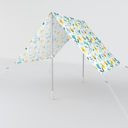 Summer flowers in yellow and blue in white background Sun Shade