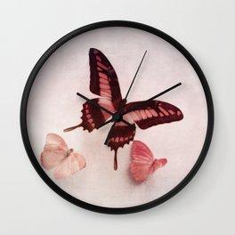 Pastel Pink Butterflies Wall Clock