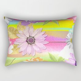 Colorful Watercolor Abstract Stripes & Flowers Rectangular Pillow