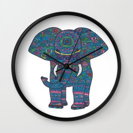 colored elephant Wall Clock