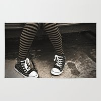 sneakers Area & Throw Rugs featuring Striped Socks & Sneakers by Sal4dian