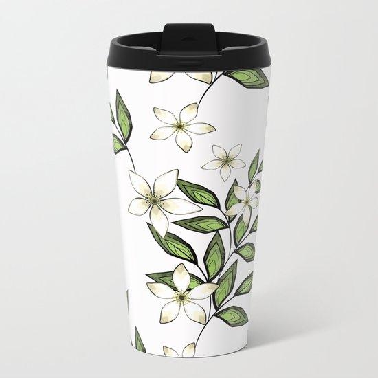 White flowers. Metal Travel Mug