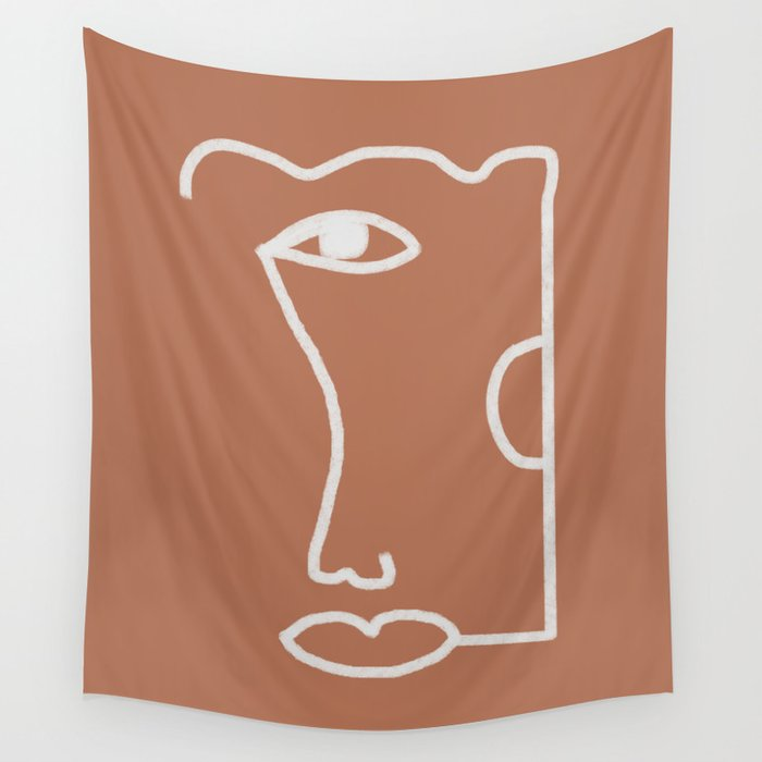 Woman Face, Burnt Orange, Minimal Line Drawing Wall Tapestry