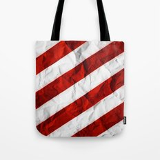 Crumbled Red Stripes Tote Bag