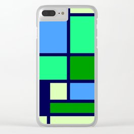 Mondrianista green blue Clear iPhone Case