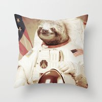 sloth Throw Pillows featuring Sloth Astronaut by Bakus