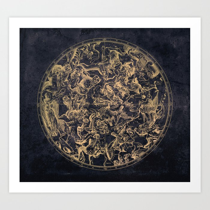 Vintage Constellations & Astrological Signs | Yellowed Ink & Cosmic Colour Kunstdrucke
