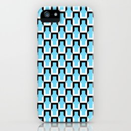 Cornered No. 2 Pattern - Black and White on Teal iPhone Case