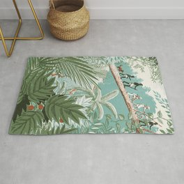 The Explorer - People Walking on a Log in the Jungle - Vintage movies poster illustration style Rug