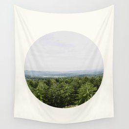 Mid Century Modern Round Circle Photo Graphic Design Pine Forest With Rolling Hills Wall Tapestry