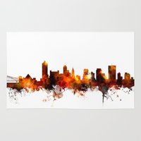 tennessee Area & Throw Rugs featuring Memphis Tennessee Skyline by artPause