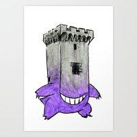 gengar Art Prints featuring Castle Gengar by notalkingplz