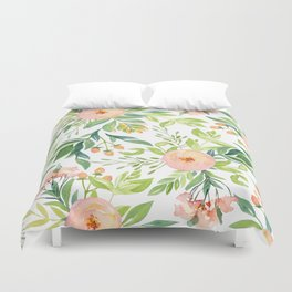 Happy Coral Pink + Green Rose Garden Duvet Cover