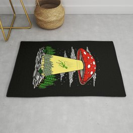 Alien Abduction Magic Mushrooms Psychedelic UFO Rug