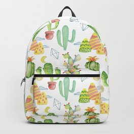 Modern green yellow hand painted geometrical tropical cactus Backpack