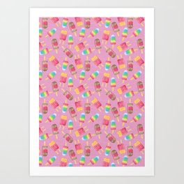 Funky popsicles on pink Art Print