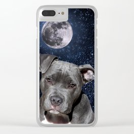 Pitbull Terrier and Moon Clear iPhone Case