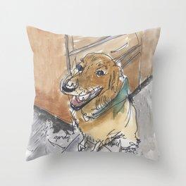 Gordy the Golden Retriever Throw Pillow
