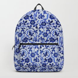 Azulejos blue floral pattern Backpack