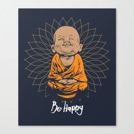 Be Happy Little Buddha Canvas Print