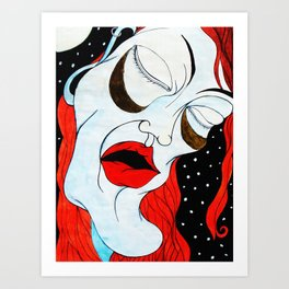 Sureal Expressionism Exhausted Portrait of a Woman Orange Distorted Melting Art Print