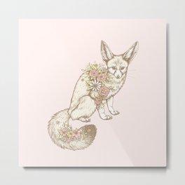 Floral Fennec Fox Metal Print