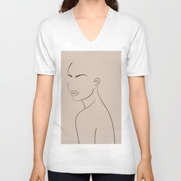 Abstract woman portrait in minimalistic line style. Female wall print. Body art poster. Modern model girl sketch template in pastel colors.  Unisex V-Neck