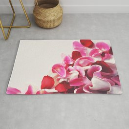 Scattered Pink + Red Rose Petals Rug