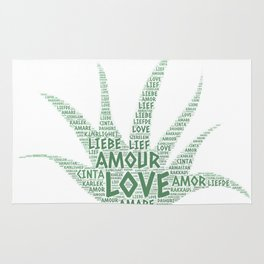 Alove Vera Plant illustrated with Love Word of different languages Rug