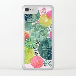 Succulent Circles on Pink Clear iPhone Case