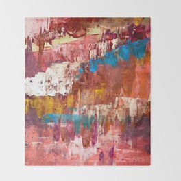 Desert Sun [5]: A bright, bold, colorful abstract piece in warm gold, red, yellow, purple and blue Throw Blanket