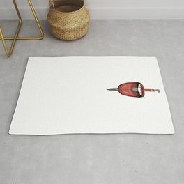 Tongue Cut by Kitchen Knife Photo Collage Rug