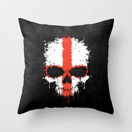 Flag of England on a Chaotic Splatter Skull Throw Pillow