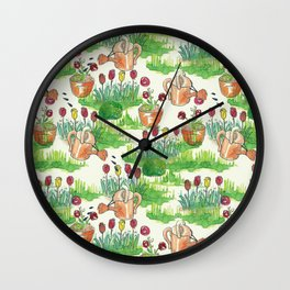 garden watercolor pattern Wall Clock