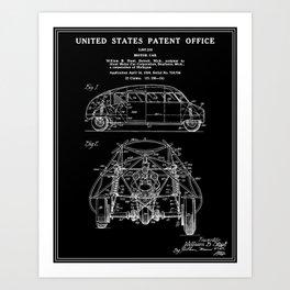 Motor Car Patent - Black Art Print