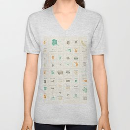 Federal states of the USA overview Unisex V-Neck