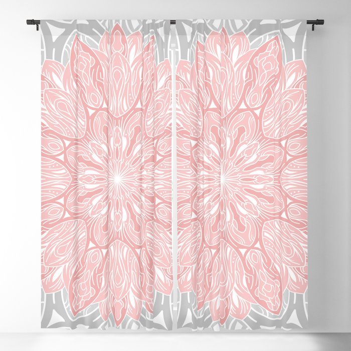 MANDALA IN GREY AND PINK Blackout Curtain