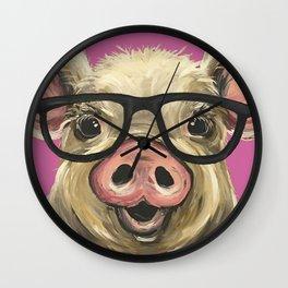Colorful Pig, Cute Pig Art, Pink Pig Wall Clock