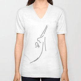 Line Art Female Face Unisex V-Neck