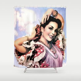 Jesus Helguera Painting of a Delightful Mexican Calendar Girl Shower Curtain