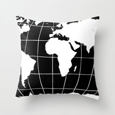 Map of the World in Black Throw Pillow